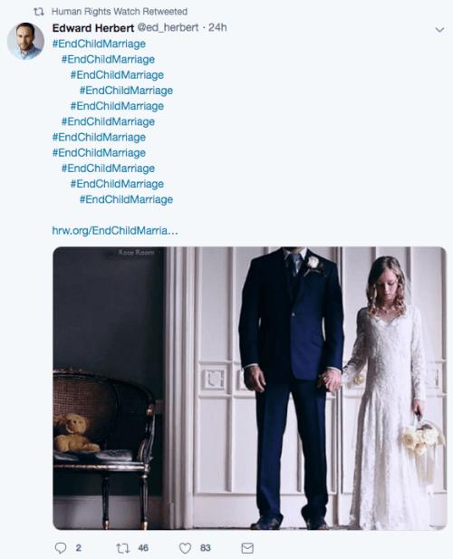 HRW Digital Advocate Edward Herbert Twitter post on child marriage