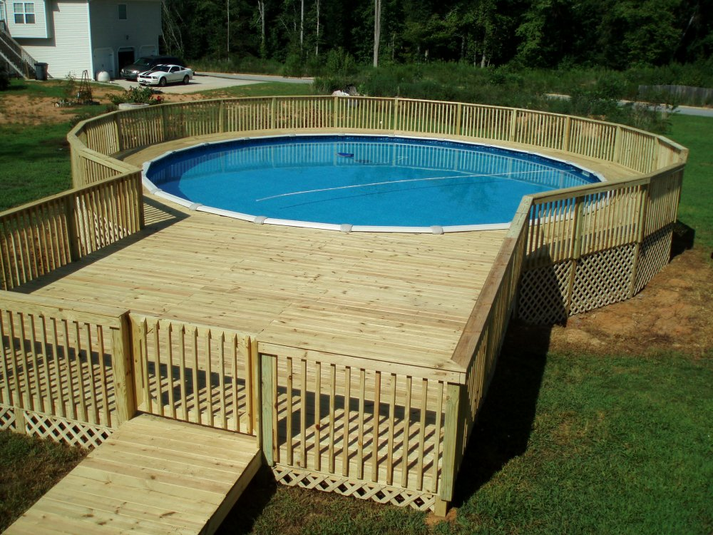 Above Ground Wood Pool Decks
