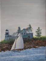 Oil Maine Sailboat Painting