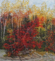 Pastel of Maine trees