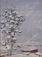 Maine Snowstorm Painting