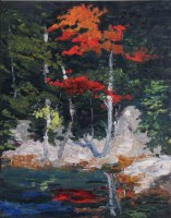 Maine woods and sea painting