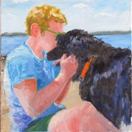 Dog, Boy and Maine Beach Oil Painting