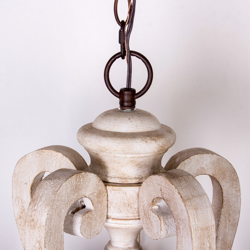 Whoselamp Antique 5 Lights Wooden Candle Chandelier