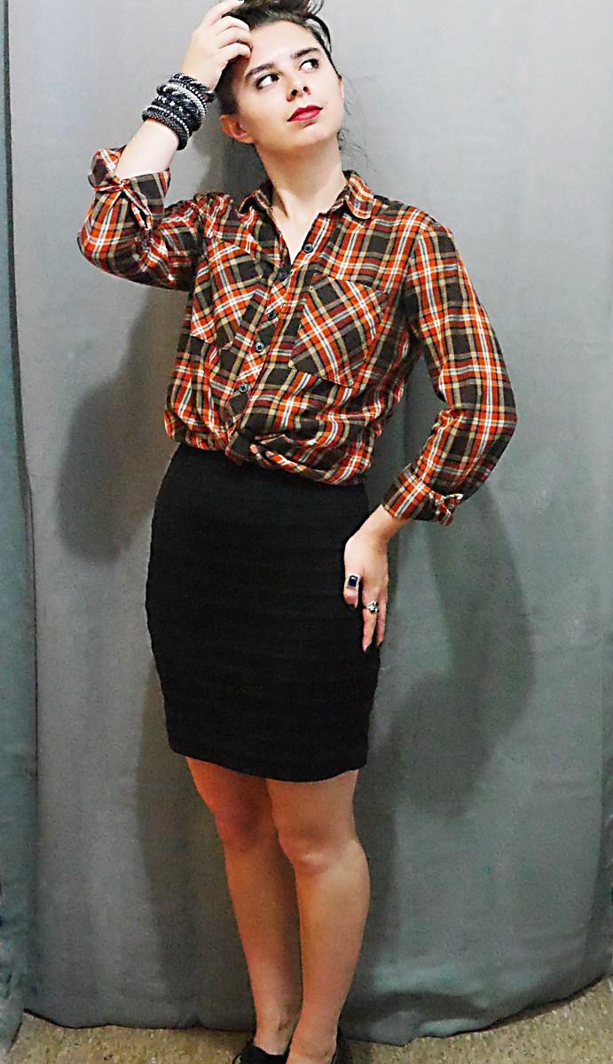 PlaidButtonUp+Skirt+Docs Fall10x10WardrobeChallenge 3