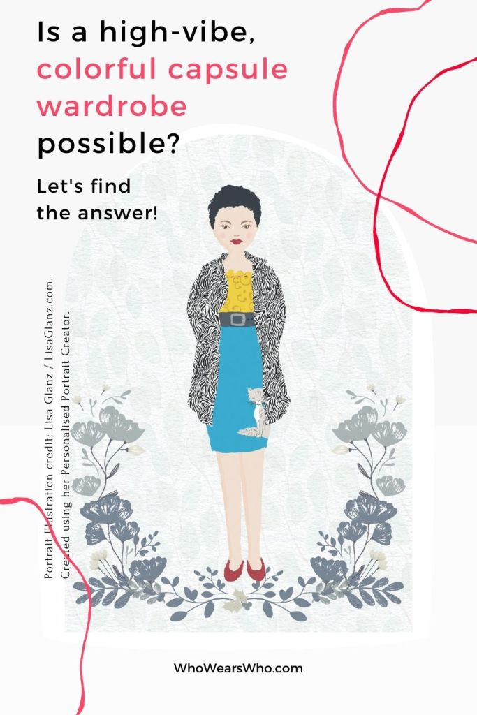 An illustration of a woman wearing a colorful outfit looking for advice on a colorful capsule wardrobe blog graphic.