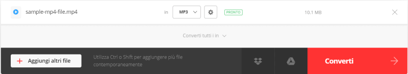 Convertio - caricamento file video mp4