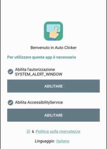 Abilitazioni Auto Clicker