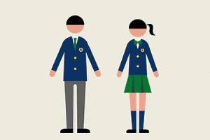 学生服姿の男女のイラスト