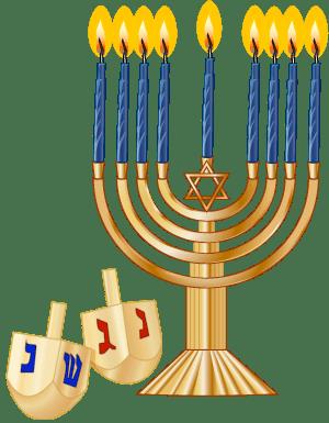 A Hanukkah Menorah/Hanukkiyah and Dreidels