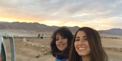 Dina & I riding a pickup car to watch the sunset at the Laguna