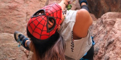 Lina El-Menshawy wearing Spiderman's mask