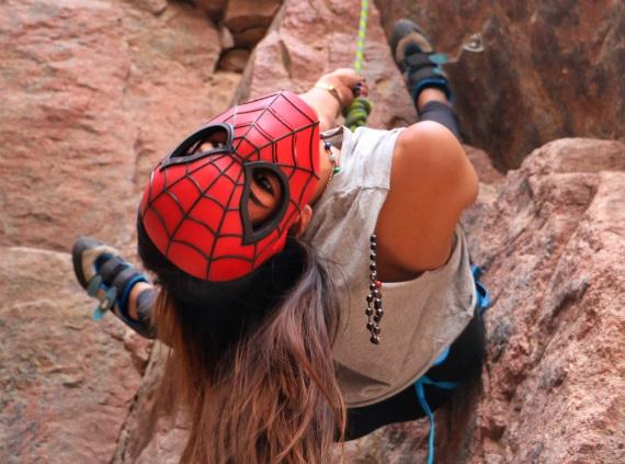 Lina El-Menshawy wearing Spiderman's mask