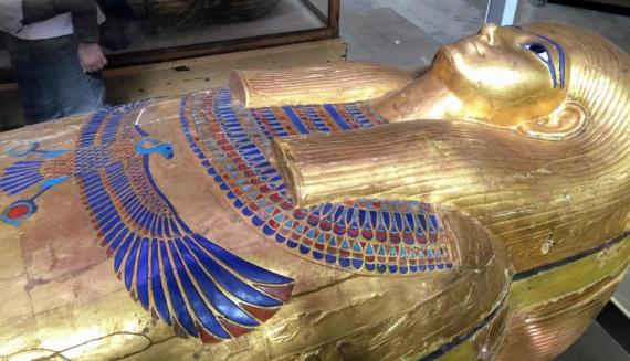 As if freshly painted Royal Coffins at the Egyptian Museum by Bassem Sameh