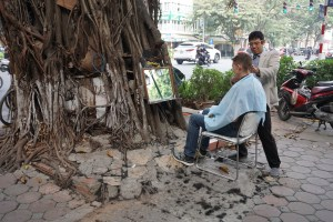 Getting a haircut on the street