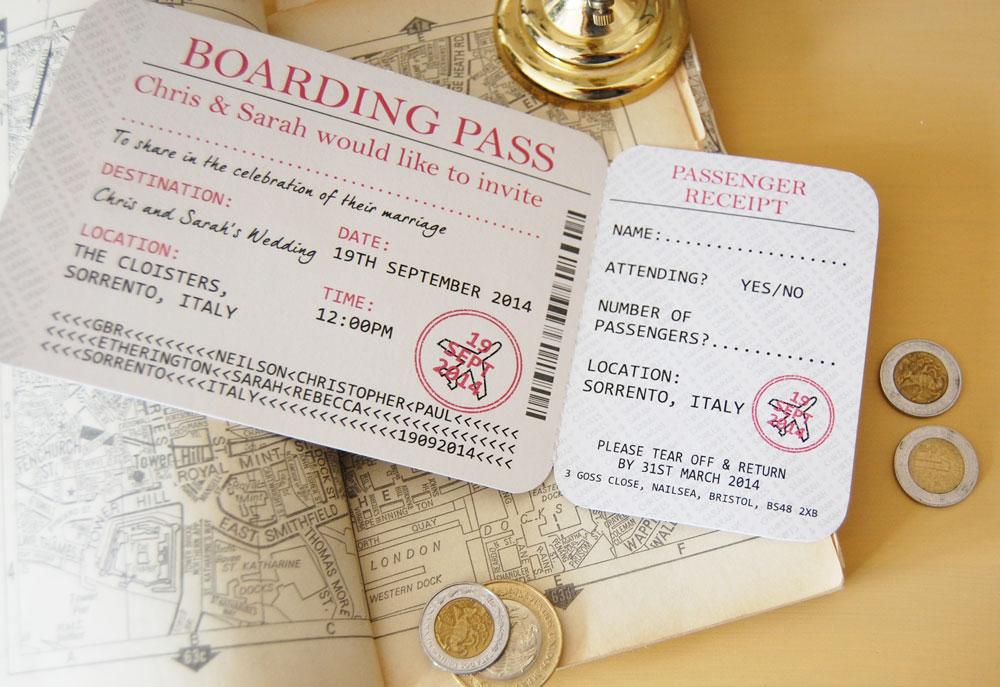 Boarding Pass Wedding Invitations.Boarding Pass Ticket Wedding Reception Invitation