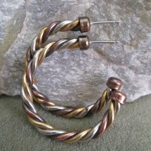 Mixed Metal Twisted Hoops