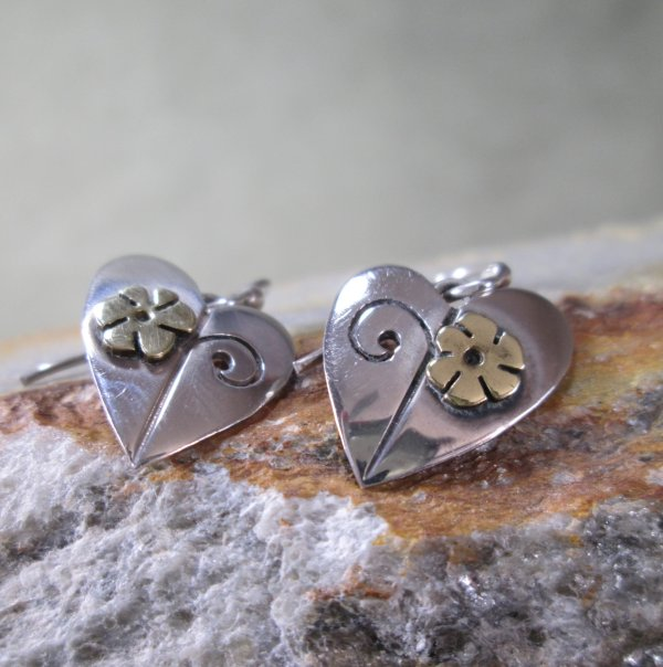 Mixed Metal Heart Earrings