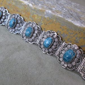 artisan scarab filigree panel bracelet