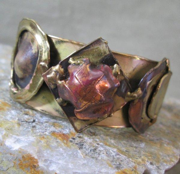 brutalist molten metal bracelet
