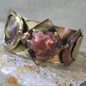 Brutalist Molten Metal Cuff Bracelet