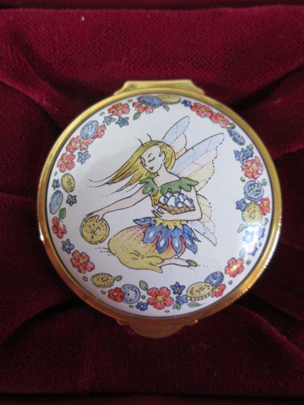 Staffordshire enamel box garden fairy