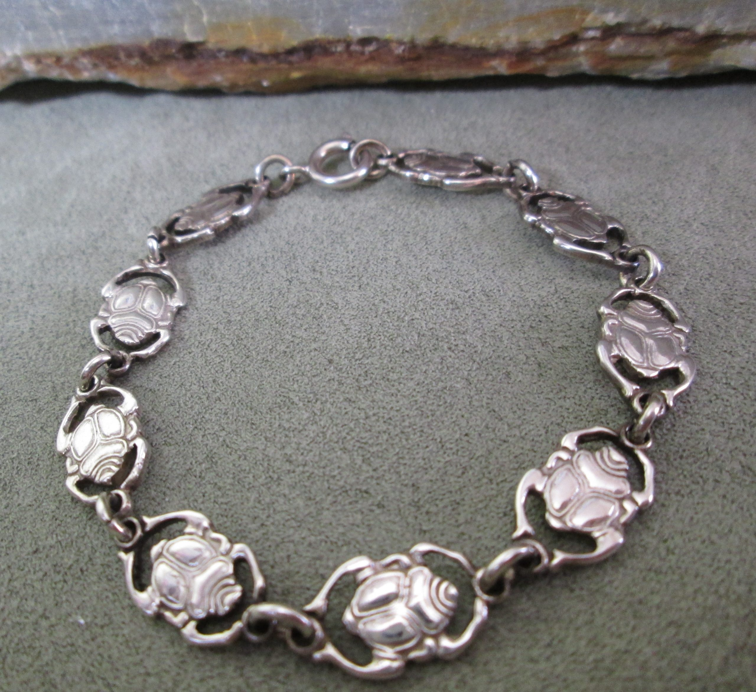 sterling silver linked scarab bracelet