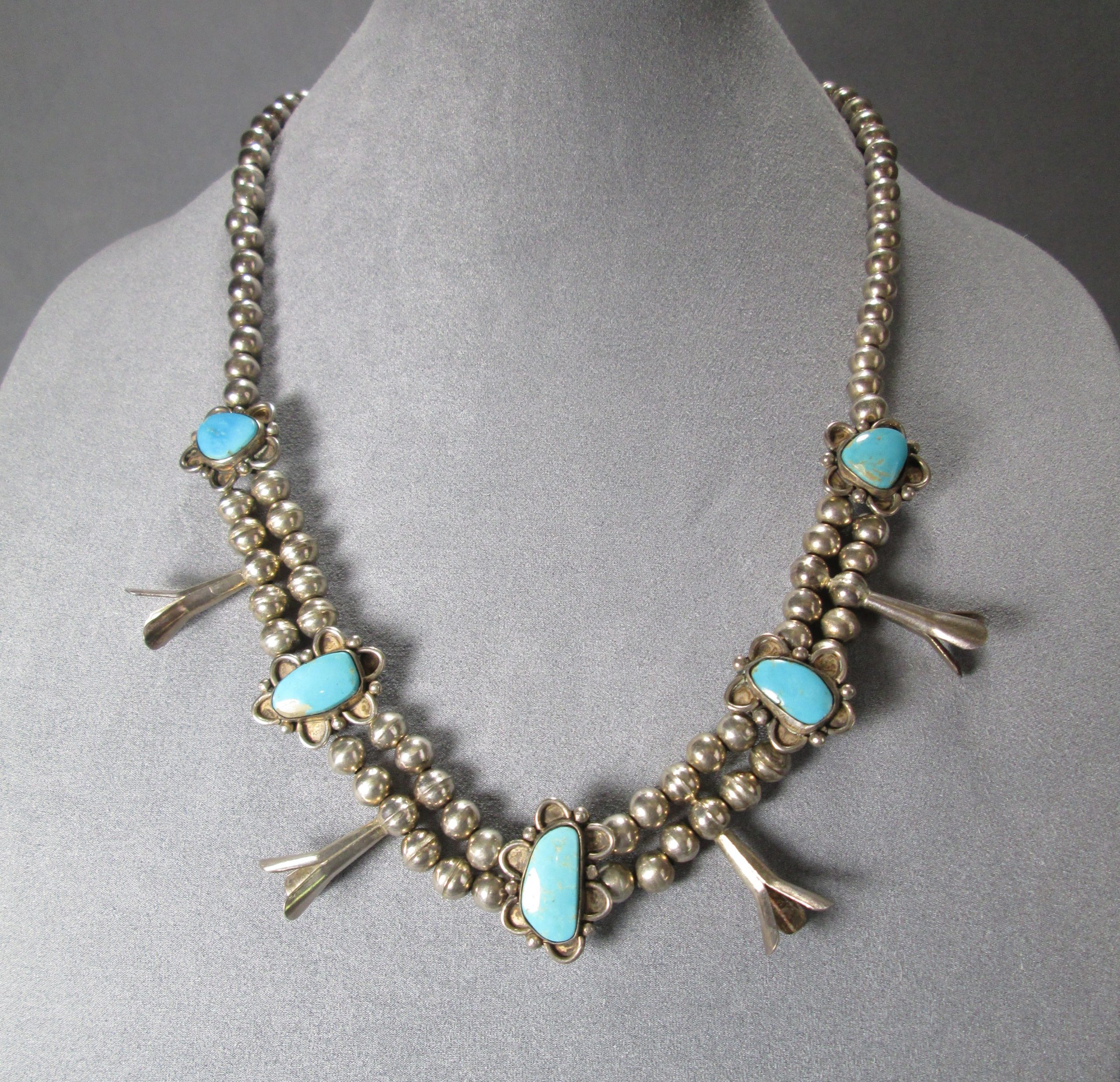 Squash Blossom Navajo Pearls Necklace