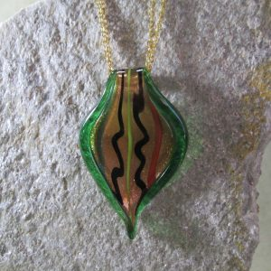sculpted art glass pendant with brass chain