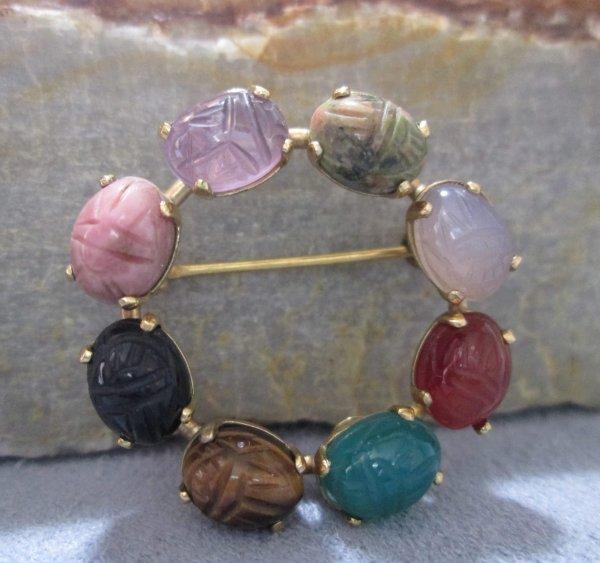 Vintage Scarab Brooch semi-precious gemstones