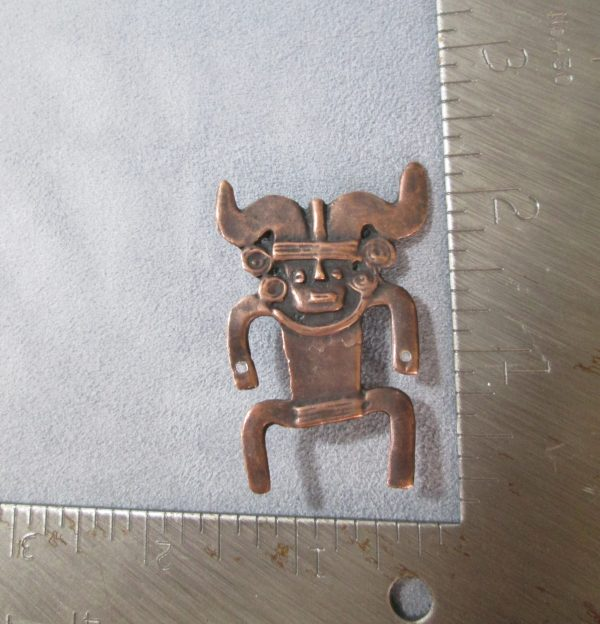 Sculpted Copper Tribal Brooch