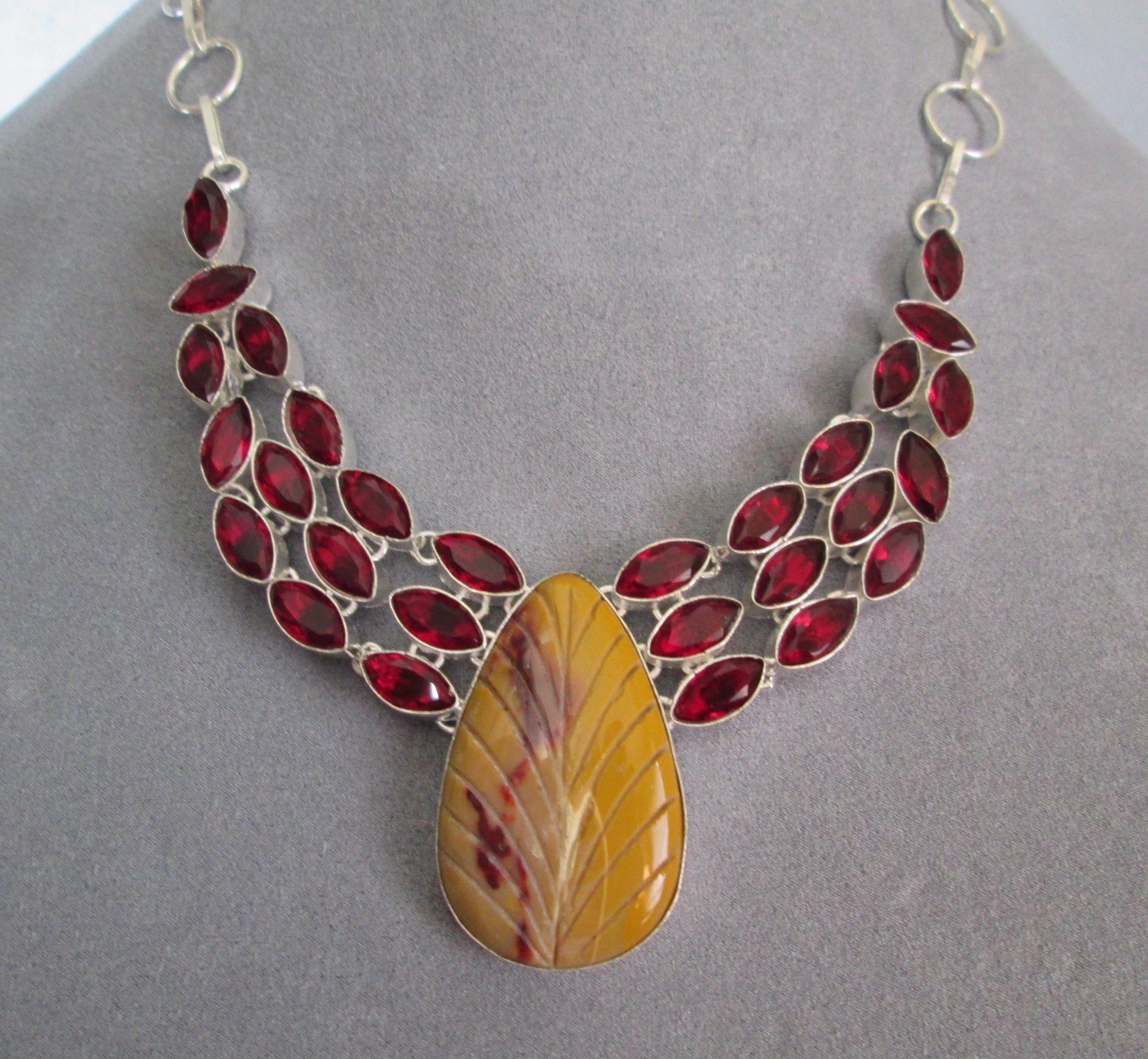 Mookaite Jasper Brass Shield Necklace by LM-inspired