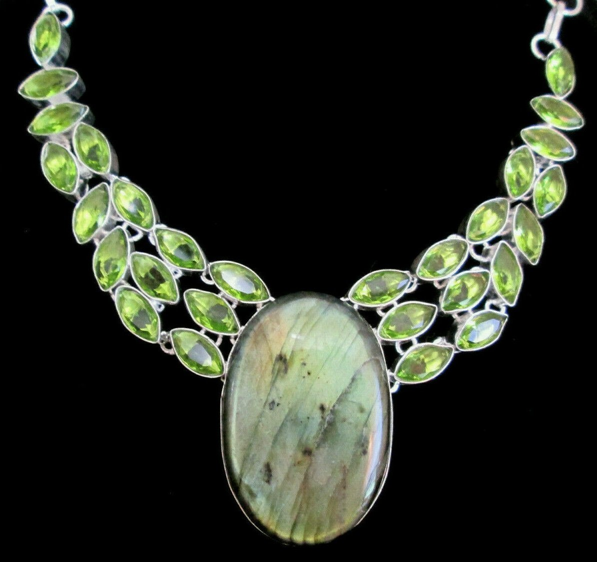 lavalliere labradorite peridot collar necklace