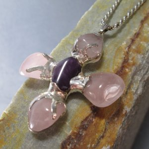 artisan rose quartz cross