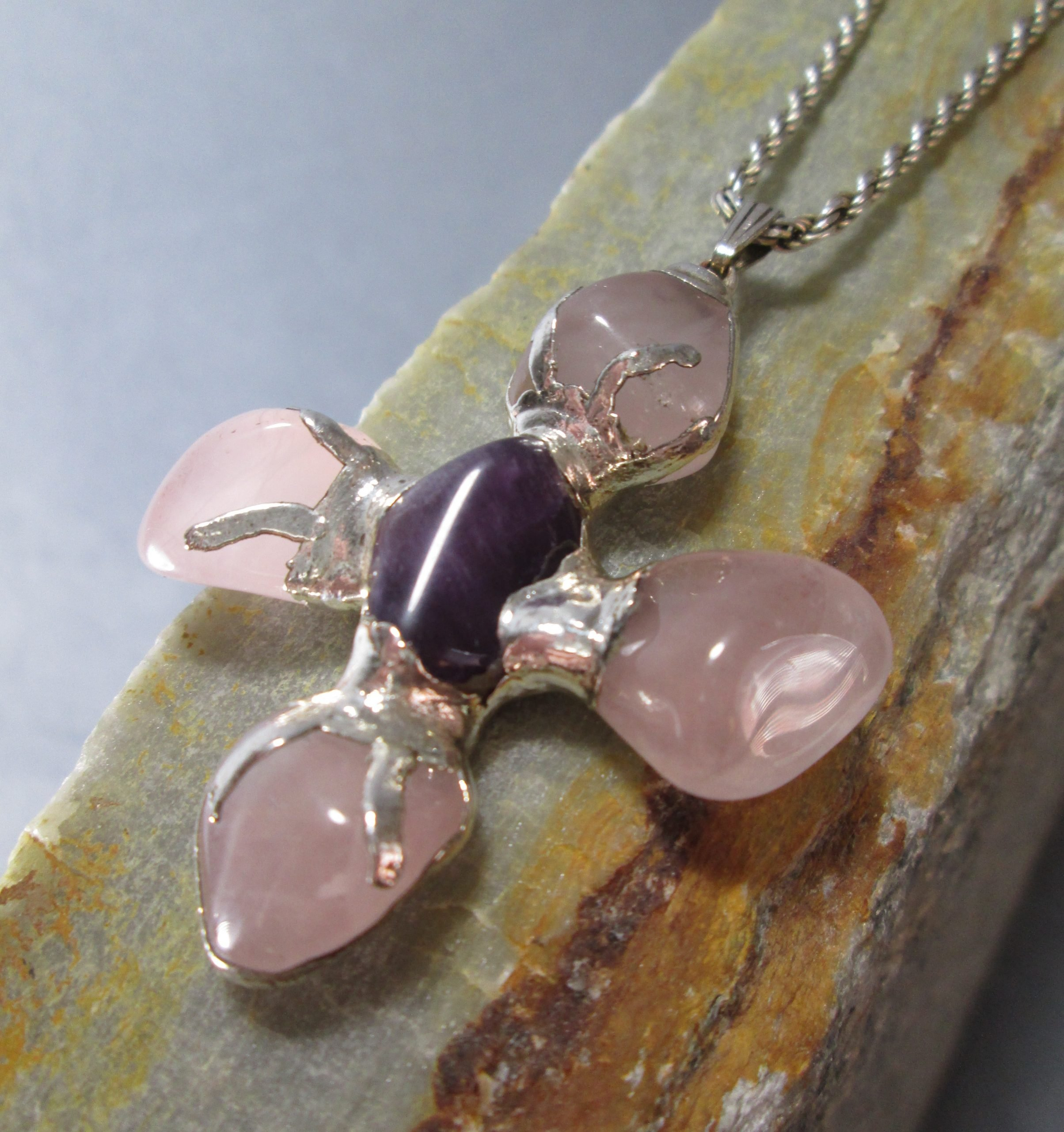 artisan rose quartz cross