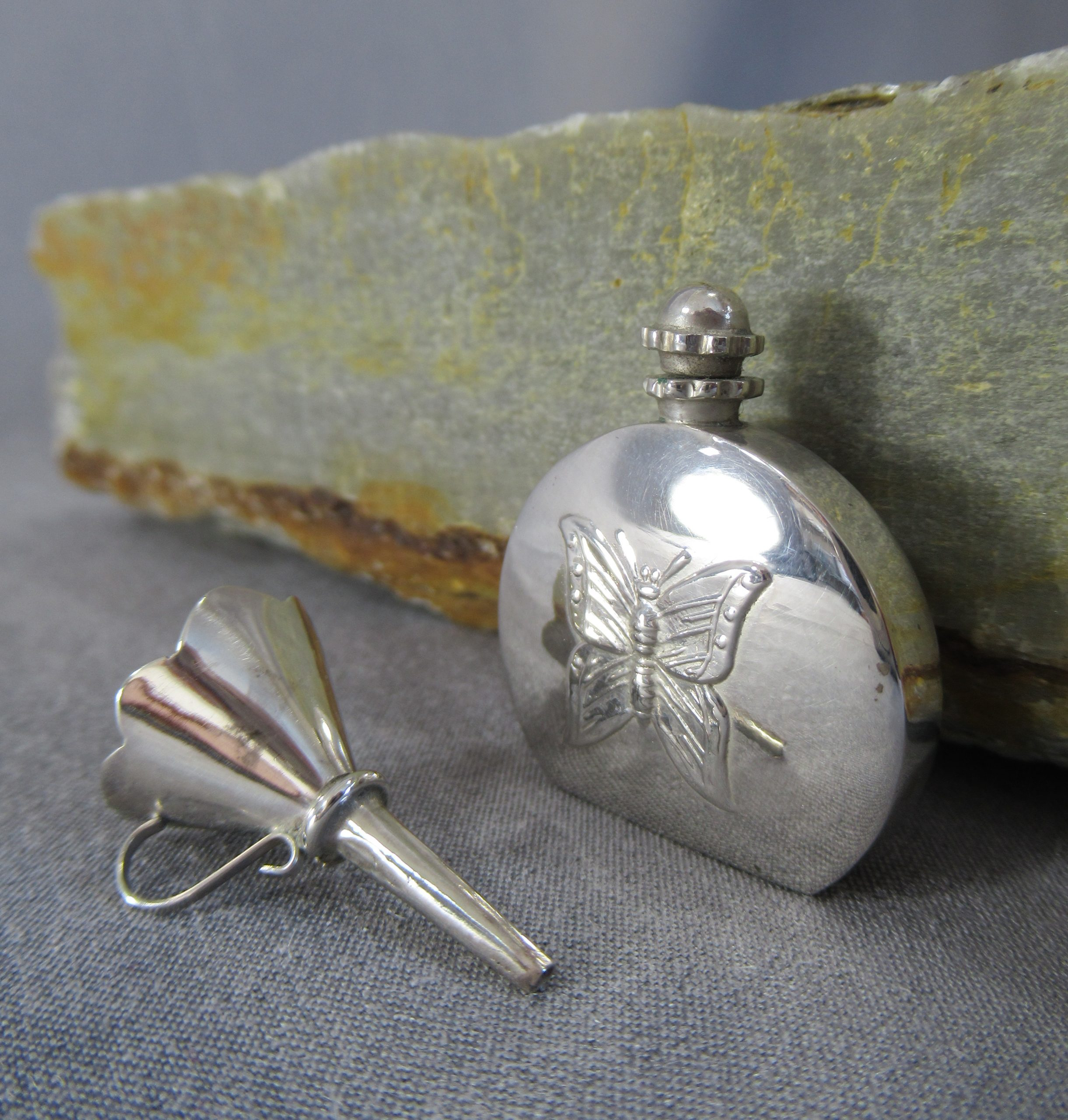Sterling Silver Butterfly Perfume Bottle with Funnel