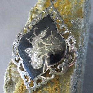 Black and Silver Niello Brooch
