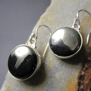 Silver Pyrite and Hematite Earrings