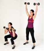 Complete Body Workout - Squats with shoulder press