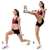 Lunge Kick with Bicep Curl - Complete Body Workout