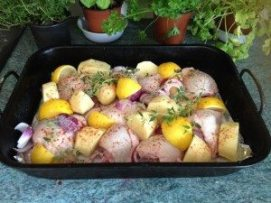Lemony Chicken Potato Bake