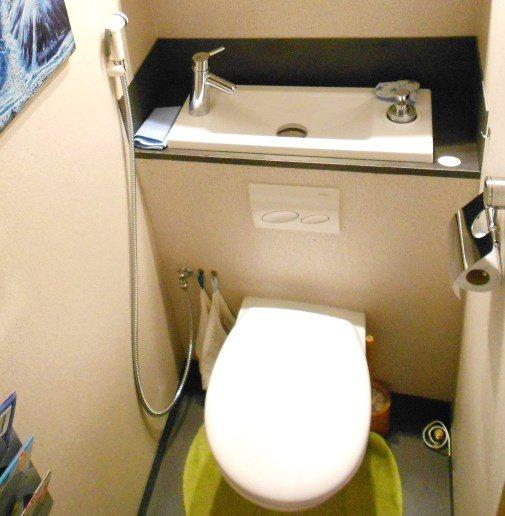 douchette pour wc suspendu blanche