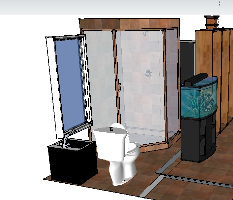 Tiny bathroom plan for cabin