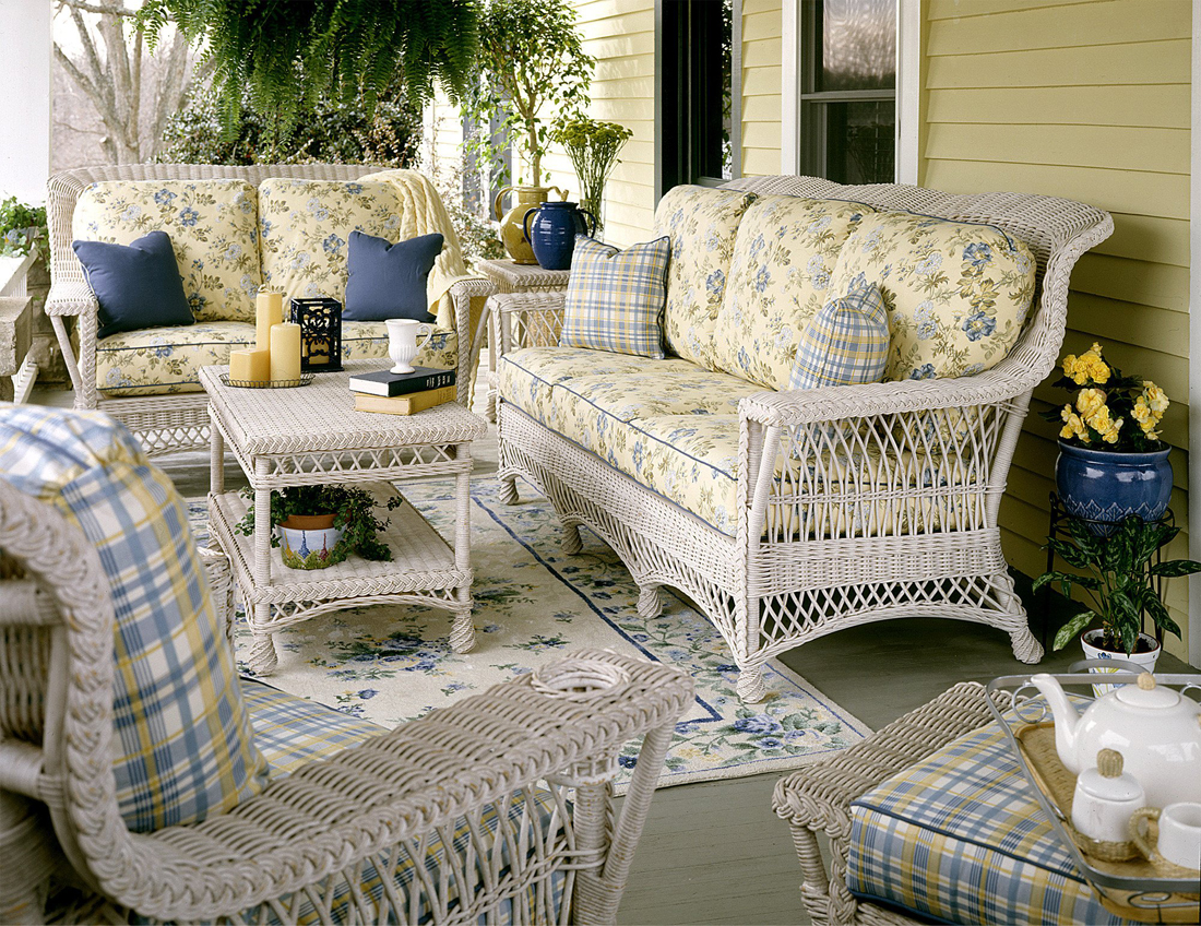 Wicker Rockport Ratan Framed Natural Wicker Furniture Sets Custom Painting Available