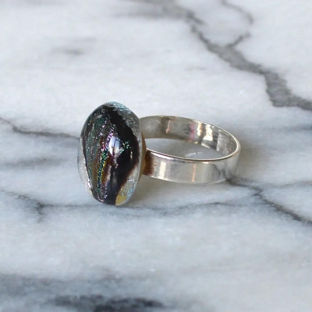 Wicksteads AWDesignsUK Silver Black & Plum Metallic Sterling Silver Dichroic Glass Ring