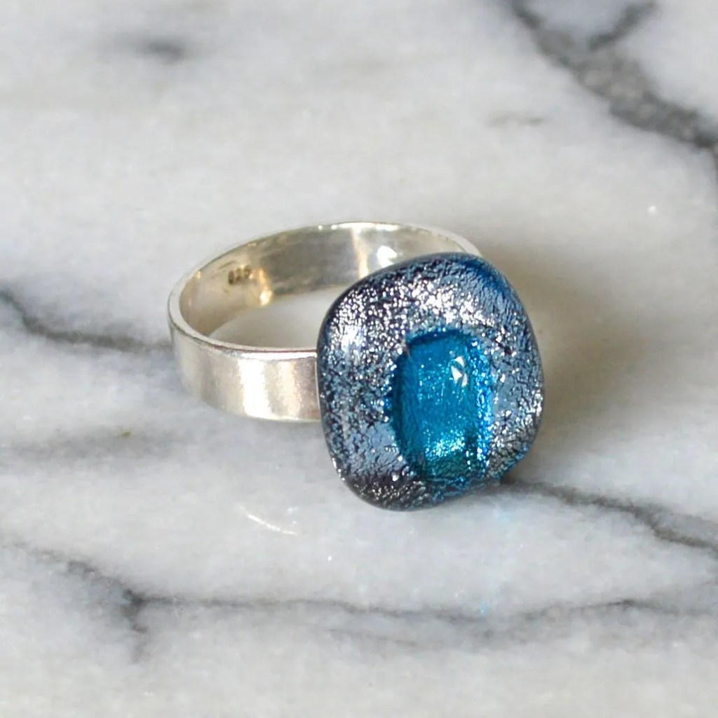 Wicksteads AWDesignsUK Silver & Blue Metallic Sterling Silver Dichroic Glass Ring