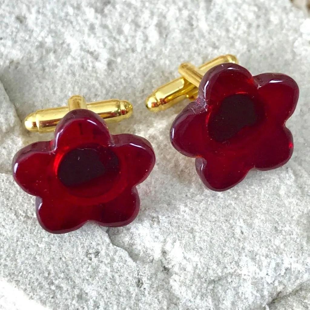 Wicksteads AWDesignsUK Deep Red Glass Flower Cufflinks