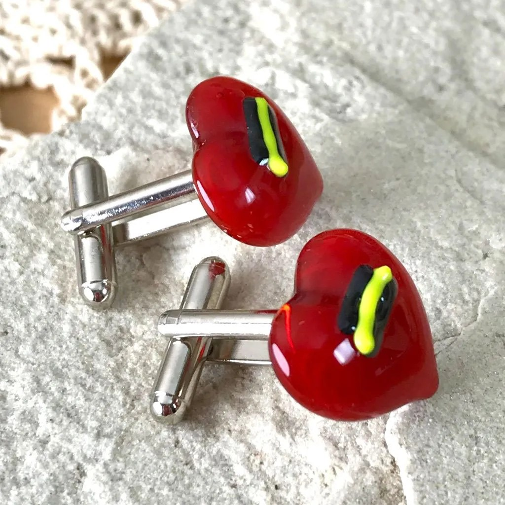 Wickstead's-AWDesigns-Red-Heart-Fused-Glass-Cufflinks-with-Yellow-and-Black-Detailing-(3)