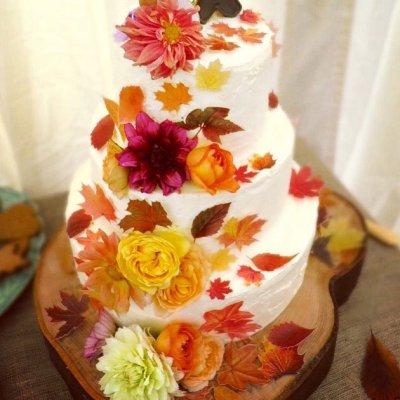 Wickstead's-Eat-Me-Customer-Photo-Custom-Coloured-Autumn-Leaves-Wedding-Cake