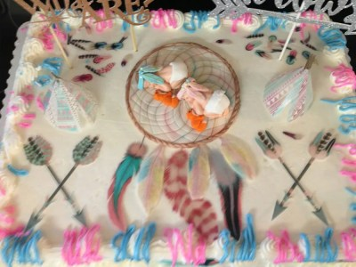 Wickstead's-Customer-Photo-of-our-Edible-Boho-Feathers-on-Boy-&-Girl-Gender Reveal Newborn-Cake-(2)